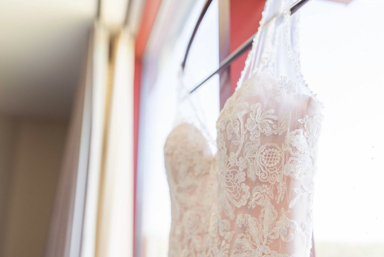 Sweetheart Neckline with Floral Lace and Overlay Pink Blush Lining with Tank Straps | Tampa Bay Wedding Photographer Kristen Marie Photography