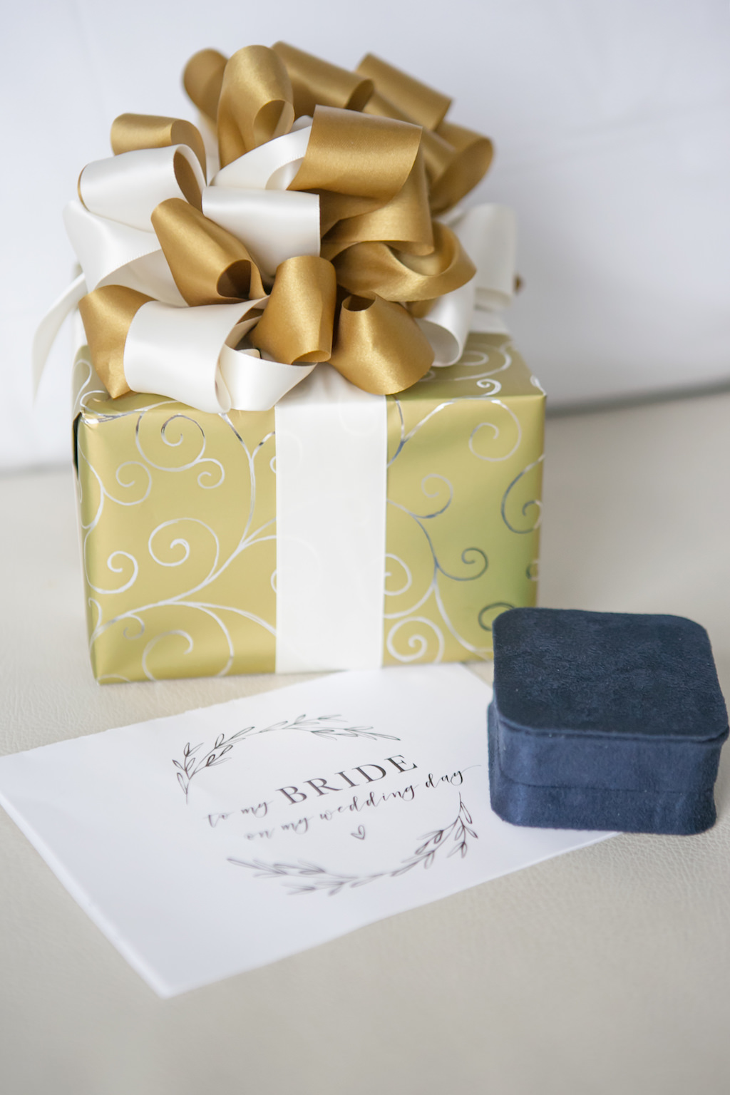 Wedding Gift From Groom with Letter to Bride and Blue Ring Box