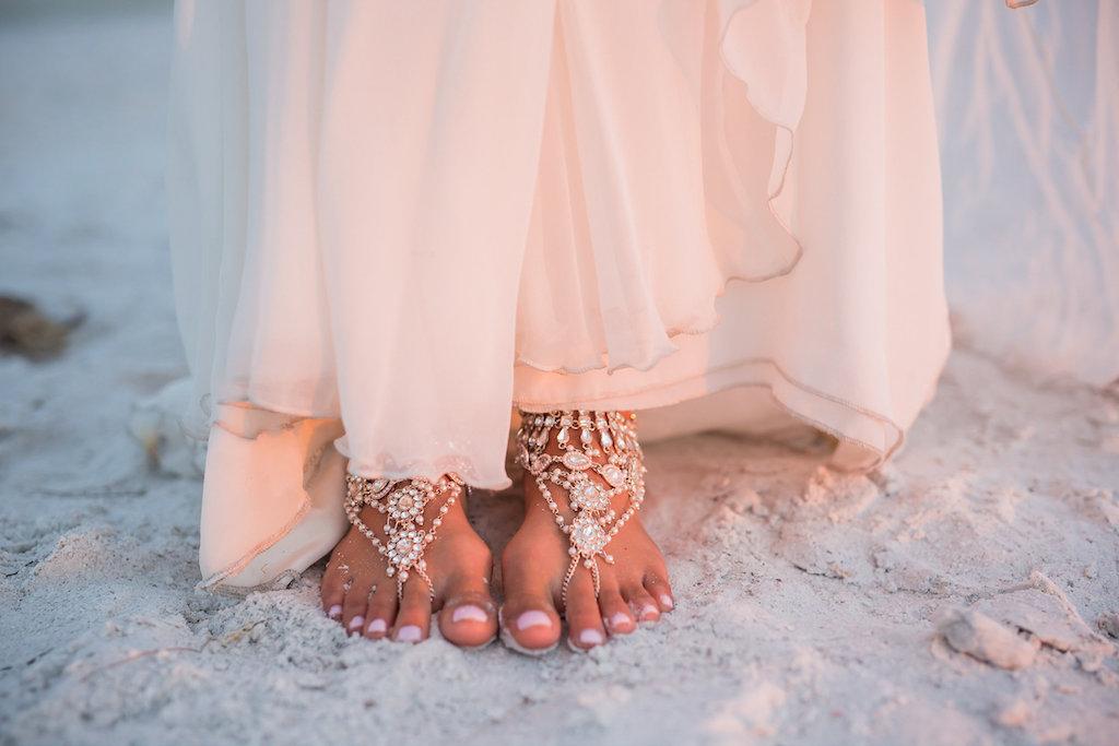 Beach Bride's Feet Wearing Beaded Ankle Foot Bracelet Jewelry on Florida Beach   Wedding Shoe Alternatives