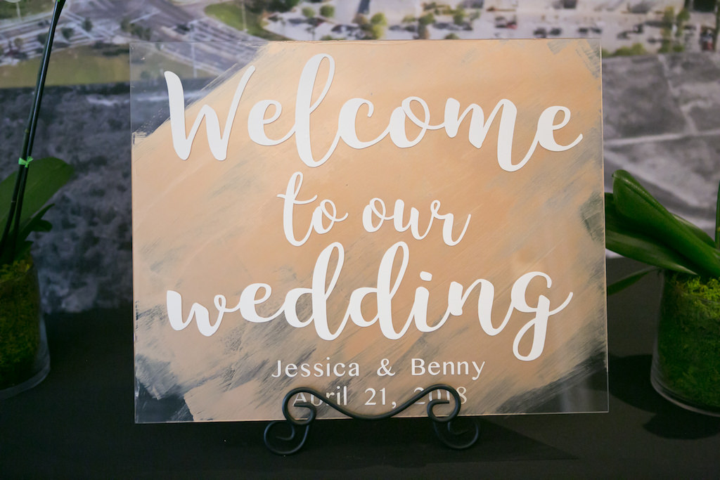Gold Painted Clear Plastic with White Hand Painted Lettering Wedding Welcome Sign