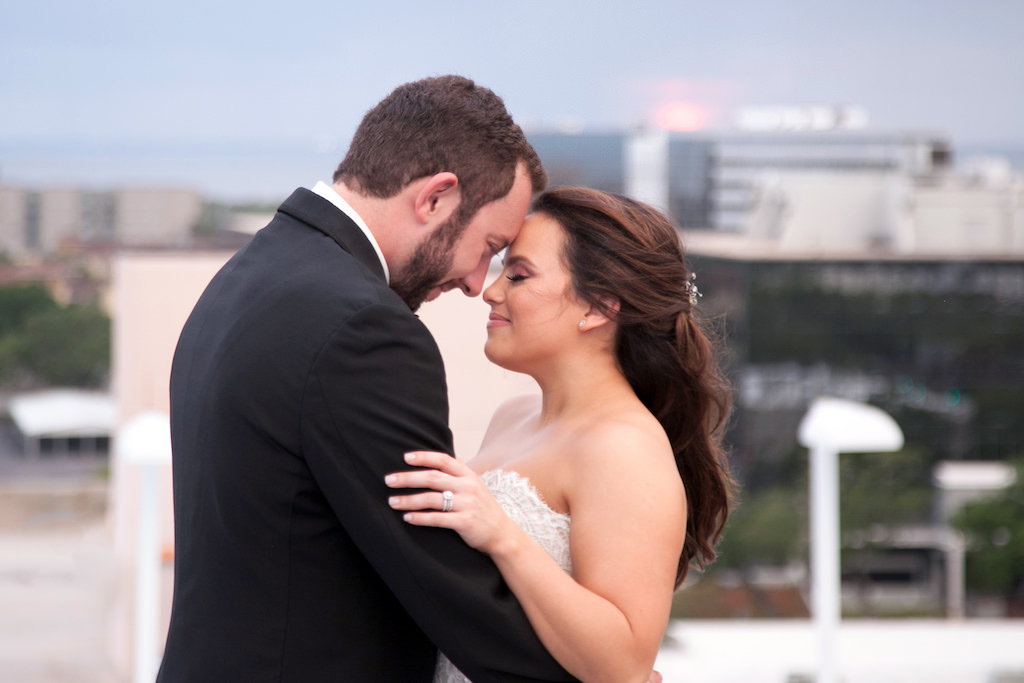 Outdoor Rooftop Wedding Portrait, Bride in Strapless Dress   Tampa Bay Wedding Photographer Carrie Wildes Photography   South Tampa Venue Centre Club