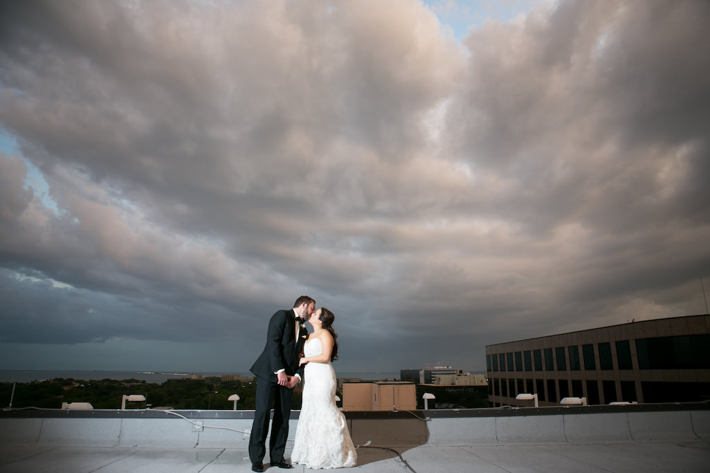 Outdoor Rooftop Wedding Portrait, Bride in Strapless Mermaid Augusta Jones Dress   Tampa Bay Wedding Photographer Carrie Wildes Photography   South Tampa Venue Centre Club