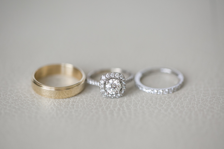 Engagement Ring, Diamond Wedding Band and Gold Mens Wedding Band