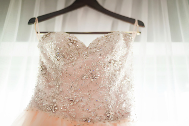 Blush Pink Sweetheart Wedding Dress with Lace and Rhinestones | Tampa Bay Bridal Shop Truly Forever Bridal