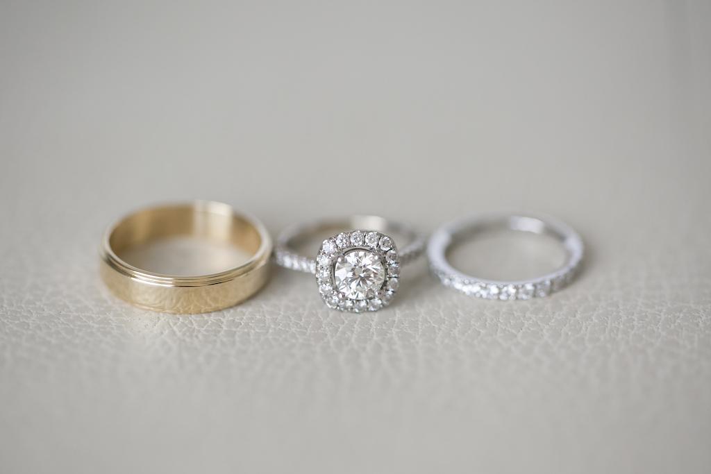 Engagement Ring, Diamond Wedding Band and Gold Mens Wedding Band