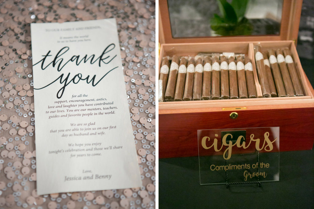 Stylish Black Lettering White Rectangle Printed Thank You Wedding Card, and Cigar Bar with Gold Printed on Clear Plastic Sign