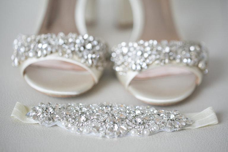 Rhinestone Garter and Jeweled Open Toe Wedding Shoes