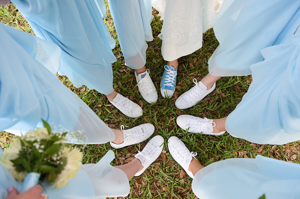 Bridal Party Bridesmaids with White
