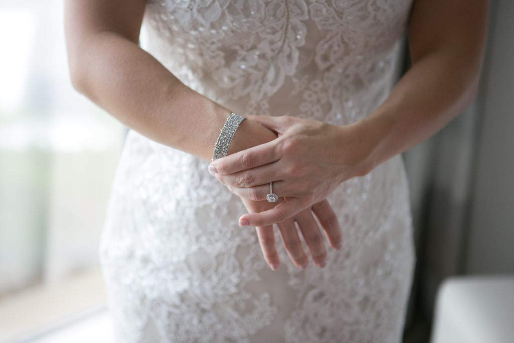Bridal Getting Ready Portrait in Lace Augusta Jones Wedding Dress with Square Diamond Engagement Ring and Silver Bracelet   Tampa Wedding Photographer Carrie Wildes Photography