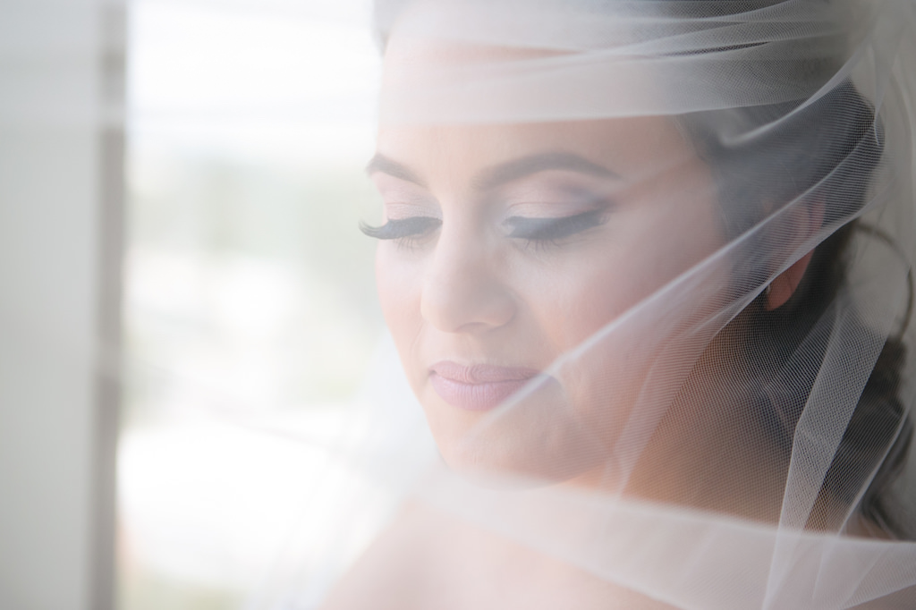 Creative Indoor Bridal Portrait in Veil   Tampa Wedding Photographer Carrie Wildes Photography