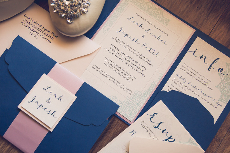 Custom Navy Blue and Blush Wedding Invitation Suite and Round Toe Shoes with Rhinestone Jewel | Tampa Wedding Photographer Luxe Light Photography