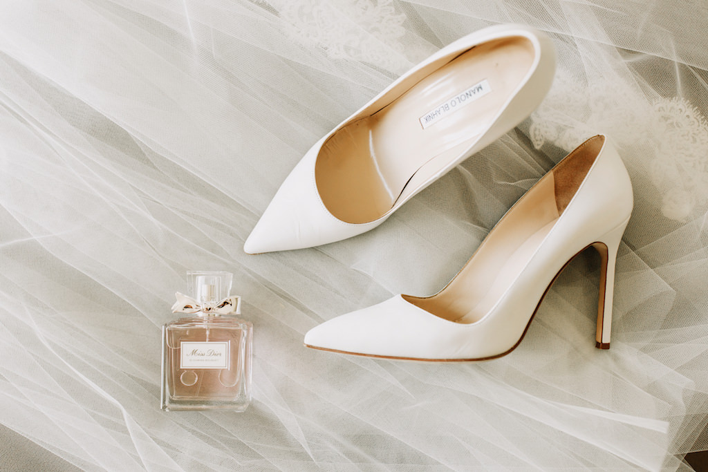 Pointed Toe Manolo Blahnik Ivory Wedding Heel Shoes with Miss Dior Perfume