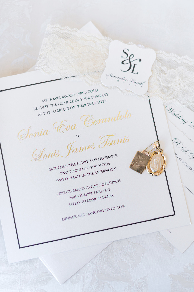 Square Elegant Wedding Invitation with Navy Print and Gold Foil Script