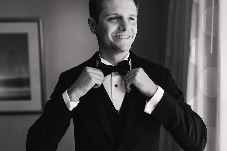 Groom Getting Ready Portrait with Black Tuxedo and Bowtie
