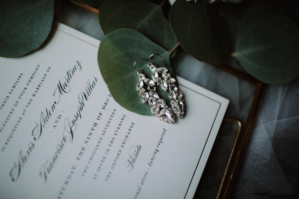 Crystal, Drop Chandelier Bridal Wedding Earrings on Classic White Invitation