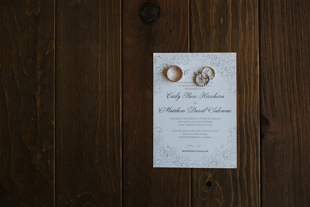 Elegant, Classic Traditional Laserprint Wedding Invitations with Script Font and Wedding Rings