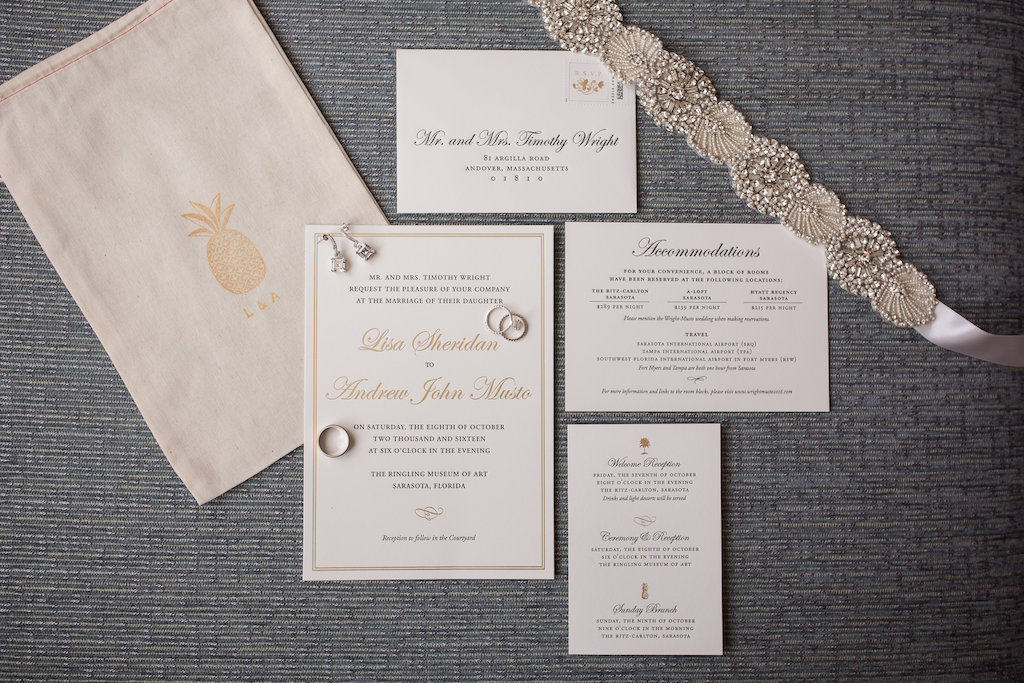 Elegant Gold Letterpress Wedding Invitation Suite
