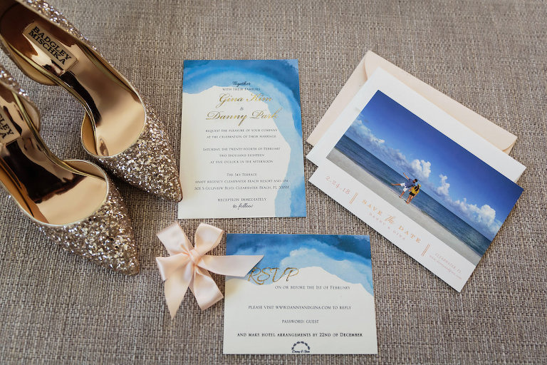 Handmade Beach Themed Blue Watercolor and Gold Foil Wedding Invitation and Save the Date, Gold Sparkle Pointed Toe Badly Mischka Shoes
