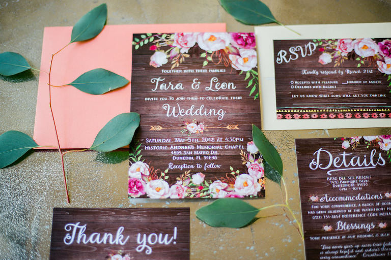 Custom Romantic Rustic and Floral Wedding Invitation Suite