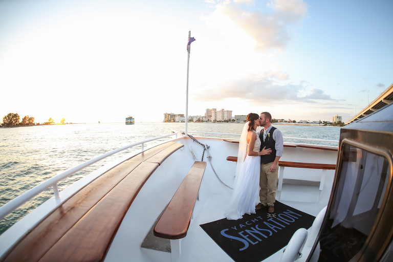 Outdoor Waterfront Bride and Groom Portrait on Yacht Starship Wedding Venue | Clearwater Beach Wedding Photographer Lifelong Photography Studios | Tampa Bay Wedding Hair and Makeup Michele Renee the Studio | Venue Yacht Starship