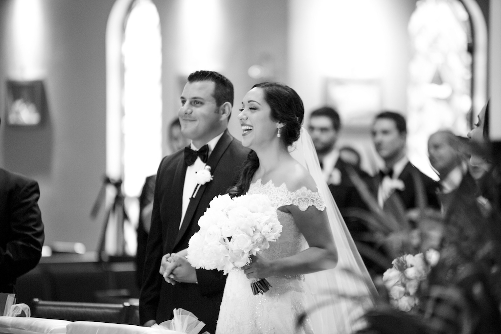 Church Wedding Ceremony Portrait, Bride in Lace Off-the-Shoulder Strap Wedding Dress, Groom in Tuxedo | St. Petersburg Venue Espiritu Santo Catholic Church