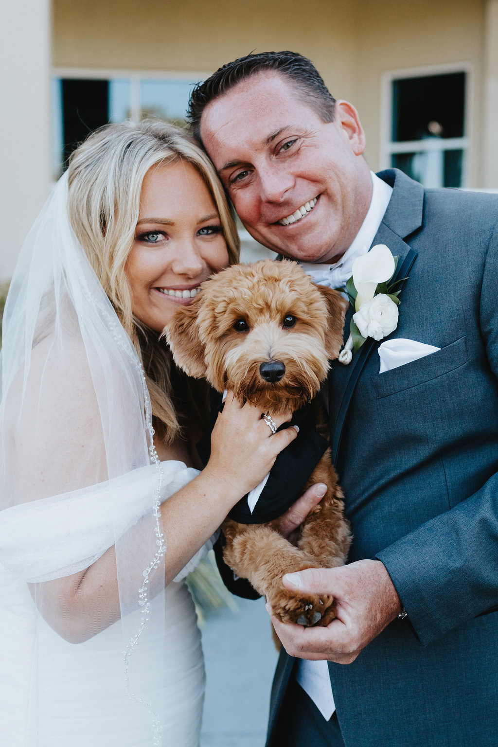 Bride and Groom Wedding Portrait with Dog in Tuxedo   St. Pete Beach Wedding Venue Isla Del Sol Yacht and Country Club   St. Petersburg Pet Wedding Planner Fairy Tail Petcare