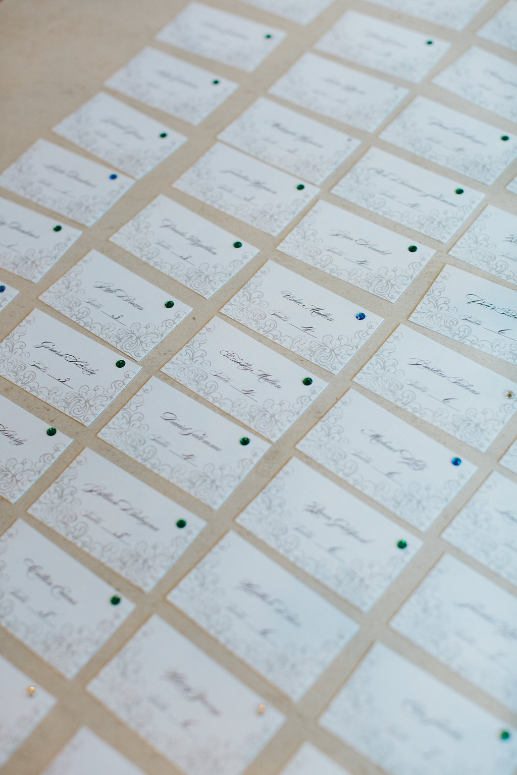 Elegant Traditional White and Black with Design Wedding Place Seating Cards
