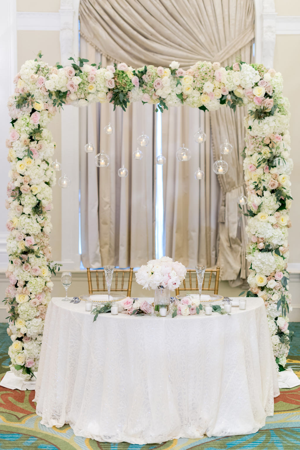 Wedding Reception Sweetheart Table Decor Blush Pink White And