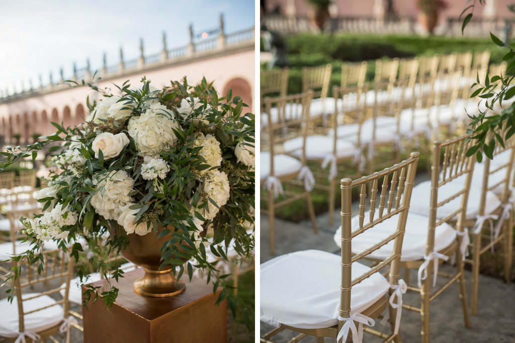 Outdoor Elegant Garden Wedding Ceremony with Gold Chiavaris and Ivory and Greenery Ceremony Flower Decor | Sarasota Wedding Venue Ringling Museum | Planner NK Productions