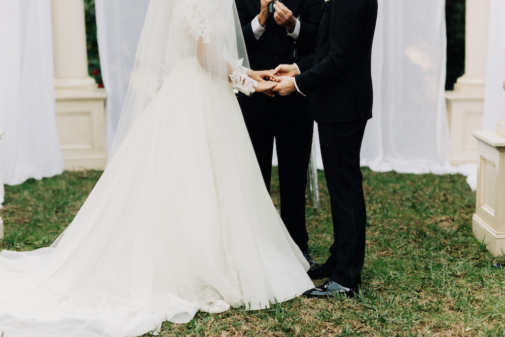 Outdoor Garden Wedding Bride and Groom Portrait, Bride in A-Line Long Sleeve Lace and Illusion Wedding Dress, Groom in Black Tuxedo