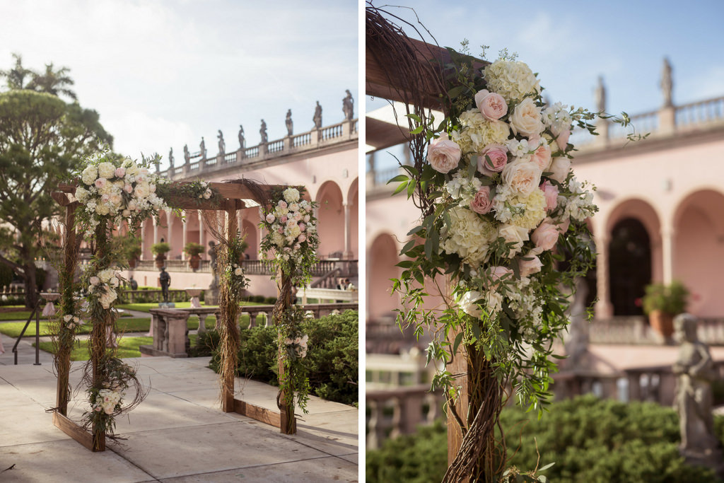 Outdoor Elegant Garden Wedding Ceremony with Wooden Arch and Blush Pink Ceremony Flower Decor | Sarasota Wedding Venue Ringling Museum | Planner NK Productions