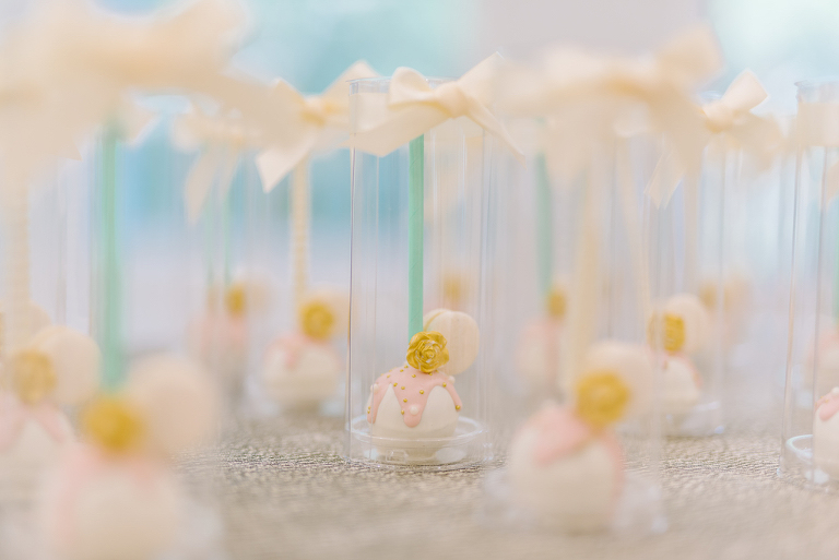 Pink and White with Yellow Flower Accented Cake Pops | Tampa Bay Wedding Dessert Favors Pop Goes the Party | Clearwater Beach Photographer Kera Photography