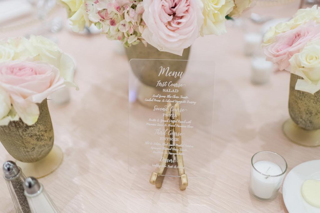 Wedding Reception Custom Clear Menu Display on Gold Stand