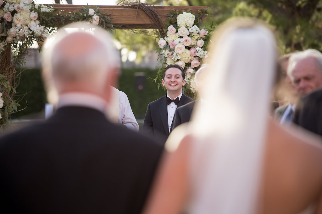 Bride and Groom First Look Reaction at Wedding Ceremony Portrait | Sarasota Wedding Photographer Cat Pennenga Photography