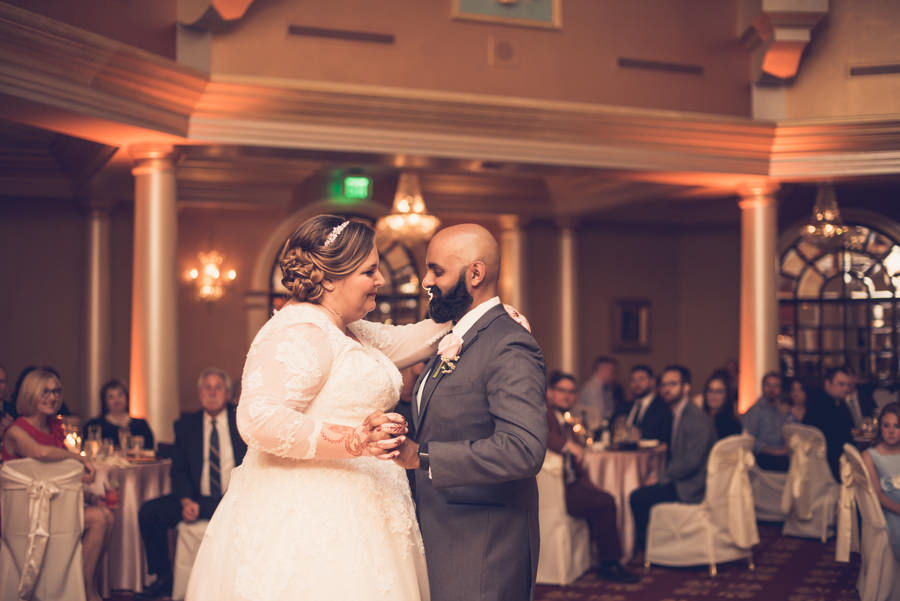 Resort Ballroom First Dance Portrait, Bride in Lace Long Sleeve Wedding Dress   Tampa Bay Wedding Venue Safety Harbor Resort and Spa   Photographer Luxe Light Photography
