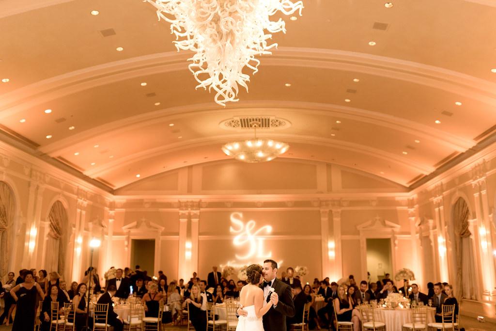 Bride and Groom First Dance Wedding Day Portrait at St. Petersburg Ballroom Wedding Venue Vinoy Renaissance Sunset Ballroom