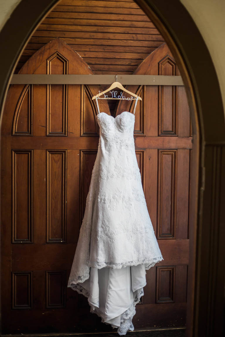 White Strapless Sweetheart A-Line Lace Wedding Dress on Personalized Wooden Hanger