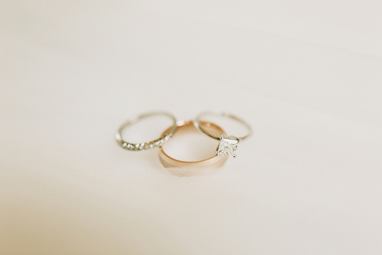 Diamond Wedding Band & Princess Cut Engagement Rings Portrait