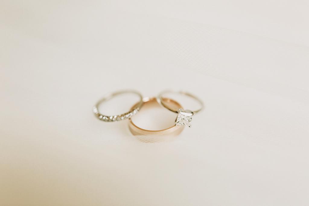 Diamond Wedding Band & Princess Cut Engagement Rings Portrait