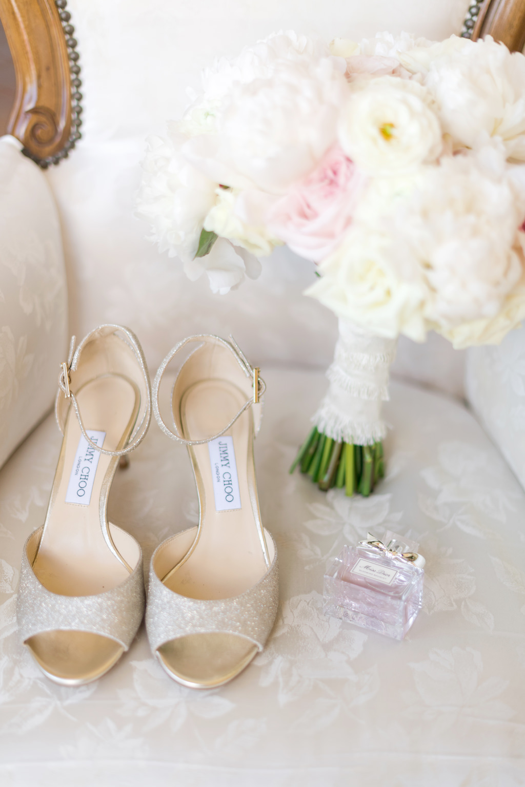 Glitter Champagne Gold Jimmy Choo Open Toe Sandal Wedding Shoes, Blush Pink and Ivory Rose Bouquet and Miss Dior Perfume Bottle