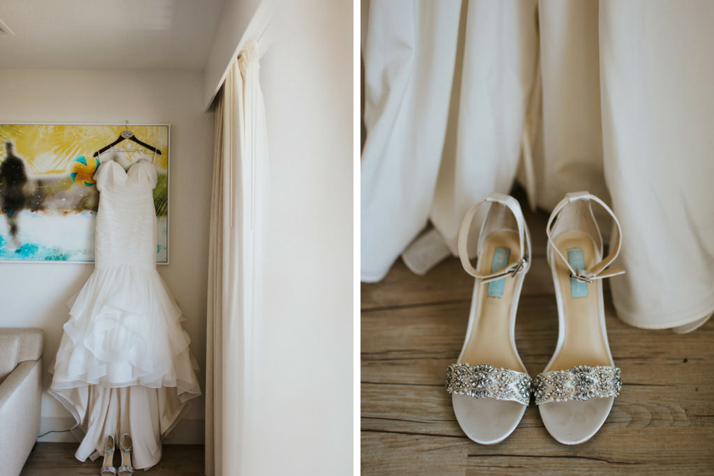 Gold And Rhinestone Peep Toe Wedding Shoes And White Off The