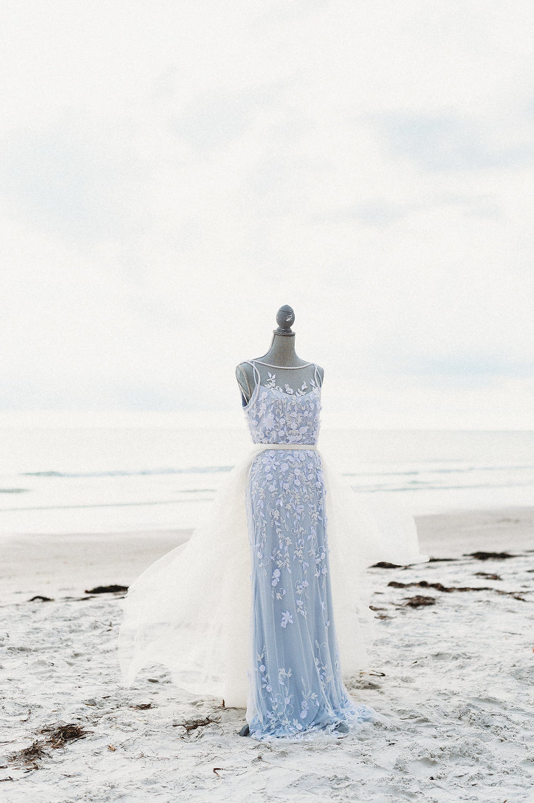 Sleeveless Illusion Neckline Floral Overlay and Light Blue Wedding Dress with Tulle Skirt on | St. Pete Beach Wedding