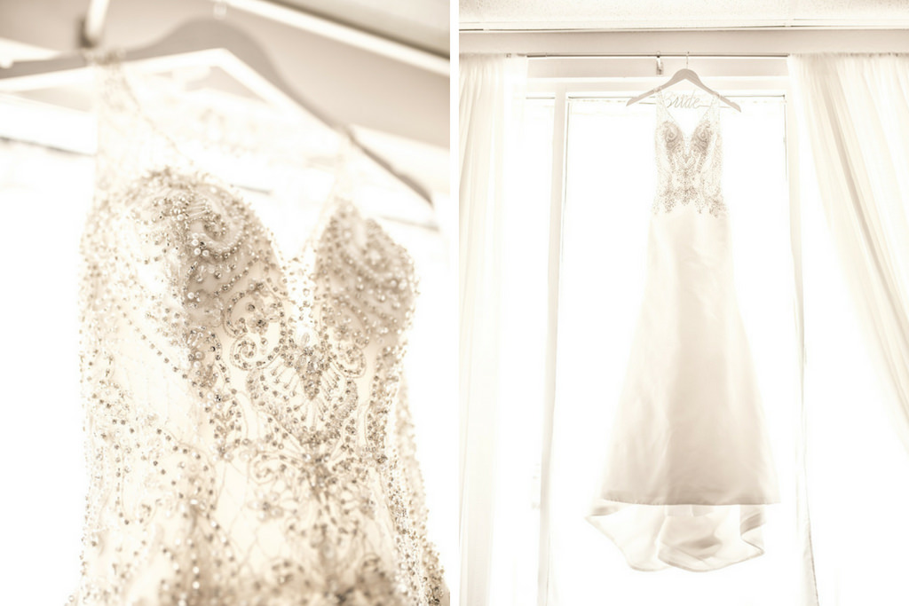 Illusion V-neck Rhinestone Beaded Bodice and Tank Top Strap Wedding Dress on Custom White Wire Hanger   Tampa Wedding Dress Shop Truly Forever Bridal