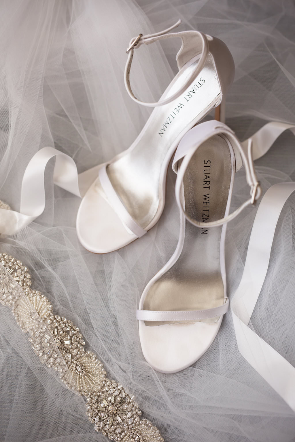 Open Toe White Strappy Stuart Weitzman Wedding Shoes