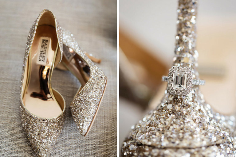 Badgley Mischka Gold Glitter Wedding Shoes and Engagement Ring