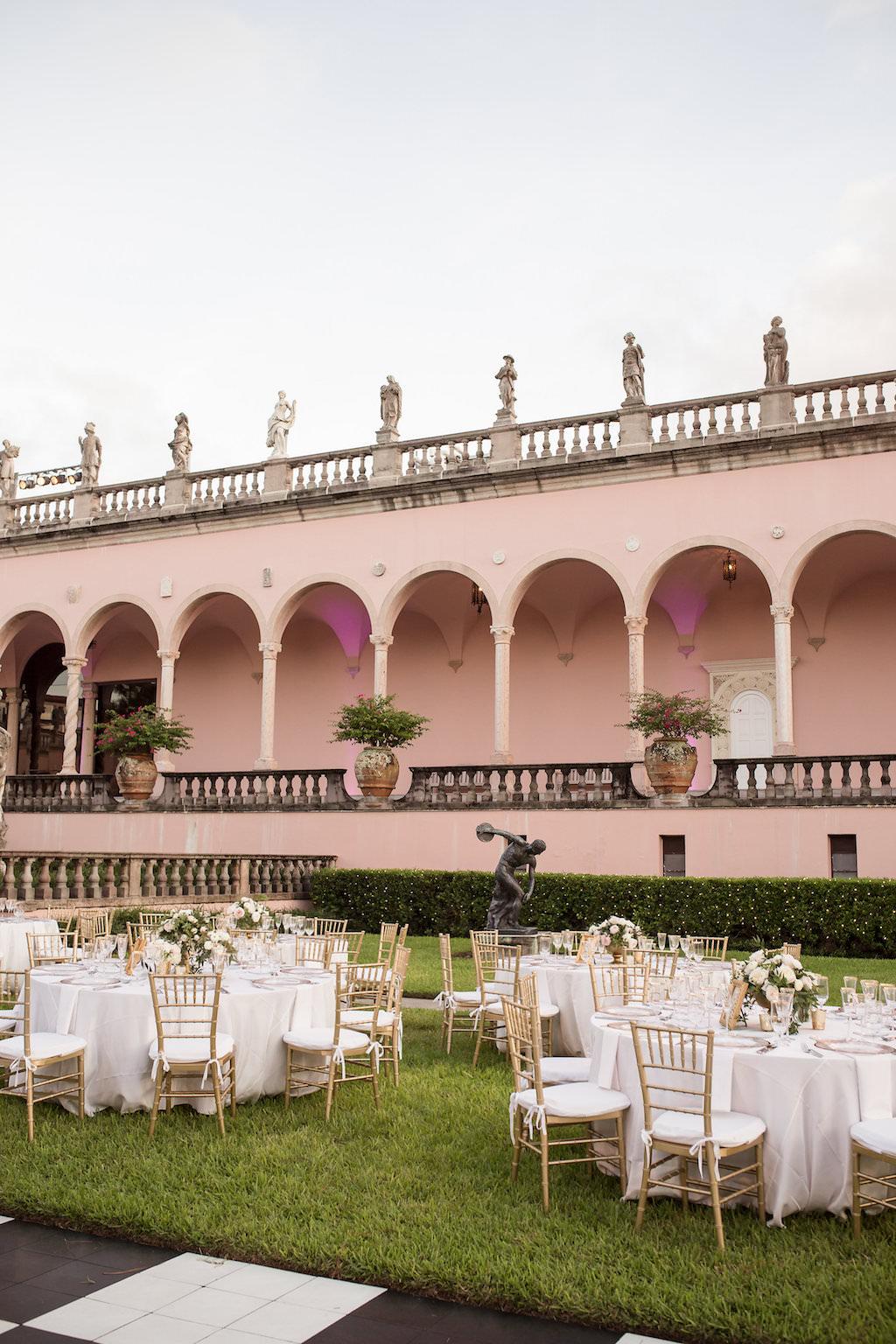 Outdoor Elegant Garden Wedding Reception | Historic, Iconic Sarasota Wedding Venue Ringling Museum | Planner NK Productions