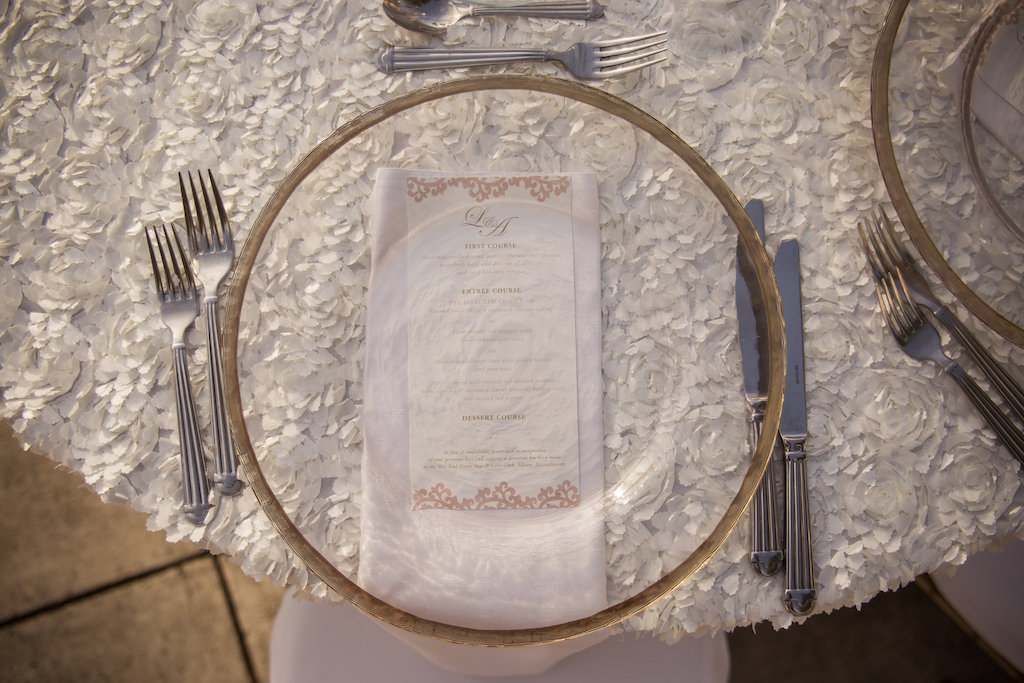 Elegant White Outdoor Garden Wedding with White Linens and Glass and Gold Charger Plates | Reception Decor Ideas