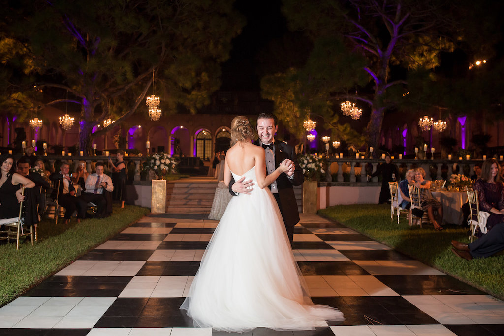 Outdoor Garden Bride and Groom First Dance at Wedding Reception Portrait | Sarasota Wedding Photographer Cat Pennenga Photography | Planner NK Productions | Historic, Iconic Sarasota Wedding Venue Ringling Museum