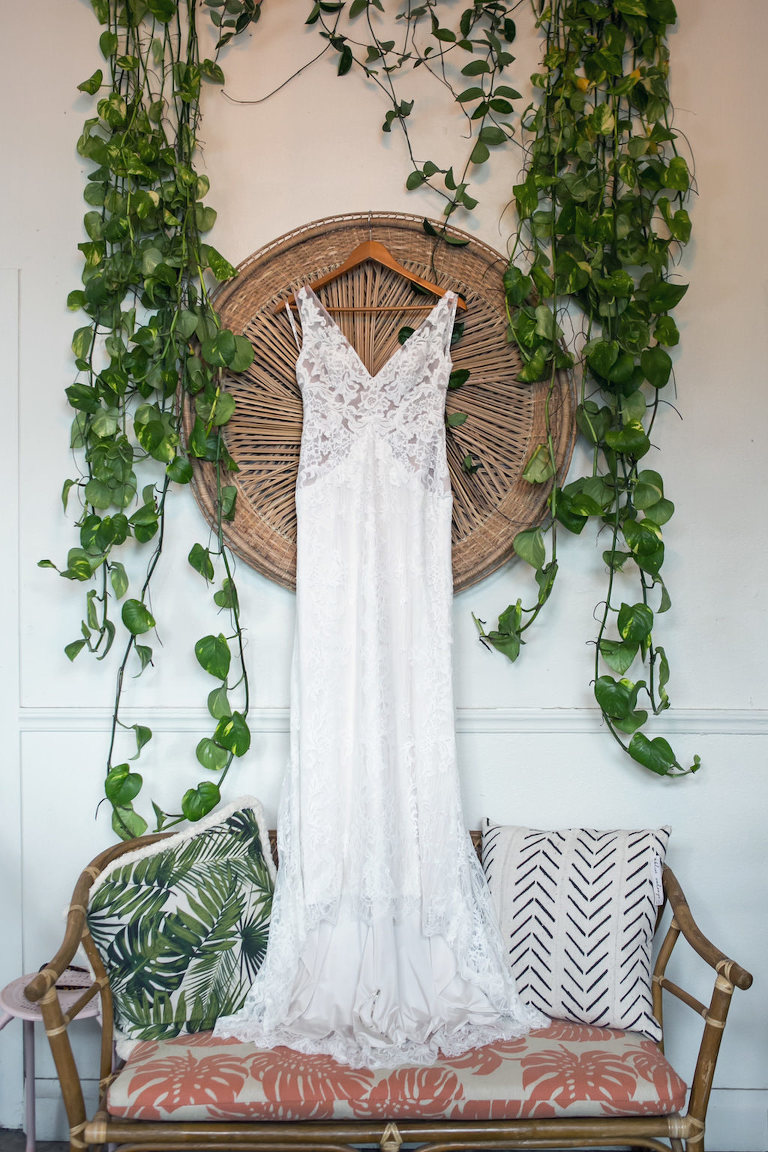 Boho Lace V-Neck Illusion Wedding Dress on Hanger | Tampa Bay Wedding Photographer Carrie Wildes Photography