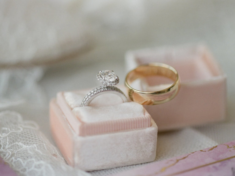 Diamond Engagement Ring and Yellow Gold Mens Wedding Band in Velvet Blush Pink Ring Box